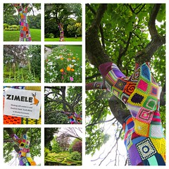 Linda Vista Gardens at Abergavenny (Darling Starlings Flying the Nest) Tags: collage abergavenny lindavistapark wales trees crochet squares artwork gardens flowers summer august 2016 zimele picframe colourful crochetsquares patchwork wtbw