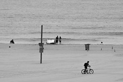 Biking on the Beach (UnsignedZero) Tags: california cloudy lens losangelescounty nikkor300mmf4tc14xafifed out outdoor outdoors outside outsides santamonica santamonicabeach weather
