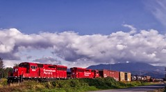 CP5014 & CP5011 (robinlamb1) Tags: railway train trains railroad cp5014 cp5011 huntington abbotsford bluesky clouds mountain outdoor commercial industry boxcars tankers stakecar