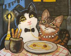 buttercup and gus (Jill Feenstra) Tags: lady tramp cat kitty portrait custom art acrylic painting original