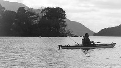 Scenic spot (Nicolas Valentin) Tags: blackandwhite cloud fish freedom scotland fishing aqua europe scenic deep adventure kayaking loch lomond ecosse aplusphoto kayakfishinguk