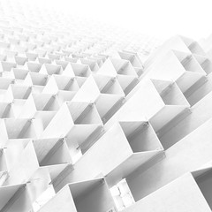 Pavilion (Giles McGarry (formerly kantryla)) Tags: uk blackandwhite white abstract london geometric architecture square mono contemporary structure highkey cubes bjarkeingels
