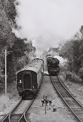 43106 4MT 2-6-0 freight train, Quorn & Woodhouse, 14th June 2015 (OG47) Tags: bw film smoke railway steam locomotive steamengine 260 freighttrain 4mt greatcentralrailway gcr uksteam 43106