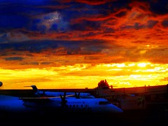 A blazing Vancouver Airport sunset  (+2) (peggyhr) Tags: sunset canada vancouver airport bc planes yvr thegalaxy peggyhr level1photographyforrecreation thegalaxyhalloffame thelooklevel1red rainbowofnaturelevel1red musictomyeyes~l1 super~sixbronzestage1 dsc08002ax