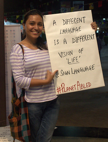 Poster Campaign: Rupmani with the poster which reads, 'a different language is a different vision of 'life' @signlanguage.