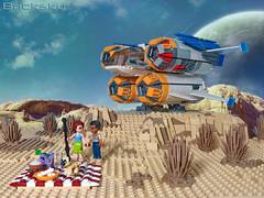 Quad Jumper Picnic (Bricksky) Tags: friends starwars picnic lego pug rey scifi spaceship finn moc jakku bricksky quadjumper