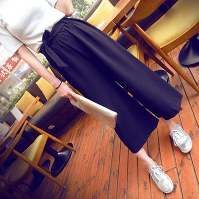 Summer Institute of Korean storm spinning nine wide leg high waist slacks pants girls loose what size tube harem pants