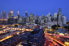 Singapore (Kinsei TGS) Tags: singapore nightscene centralbusinessdistrict bluehour chinatown skyscrapers