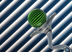 Green With Stripes (Karen_Chappell) Tags: blue stilllife abstract green glass lines ball circle angle stripes orb diagonal sphere round refraction blinds tilt