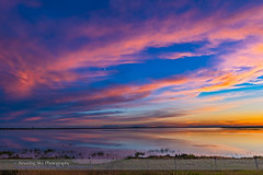 Sunset over Deadhorse Lake (Amazing Sky Photography) Tags: sunset lake reflection clouds twilight alberta prairie lowsun crescentmoon waxingmoon deadhorselake