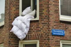 Leiden (Elisa1880) Tags: city window netherlands wall leiden nederland sheets pillow stad raam muur dekbed kussens
