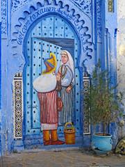 Moroccan Street Art (Ellsasha) Tags: chefchaouen morocco streetart blues mural