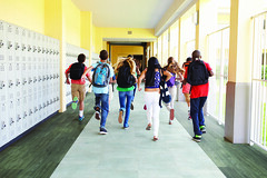 Group Of High School Students Running Along Corridor (adorefotos) Tags: highschool school class corridor hall hallway running break recess student pupil education lesson boy male girl female teen teenage teenager 12yearsold 13yearsold together hispanic caucasian africanamerican black asian tenpeople multiethnicgroup people person multiculturalgroup group horizontal indoors usa happy smiling schoolsout rearview rucksack backpack carrying summer vacation holiday