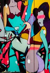 blind drinks party (PDKImages) Tags: street city windows girls urban streetart london art girl beauty graffiti women scenery rooftops faces skin camden stripes murals caged shoreditch walls contrasts owls