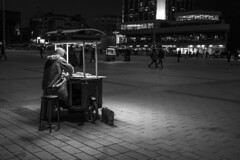 - Street Vendor - (Mr. LookUP) Tags: blackandwithe blackwhite bw nightshot night streetphotography streetlife vendor seller outdoor 2016 istanbul turkey wideangle canon 60d 1755mm f28 light