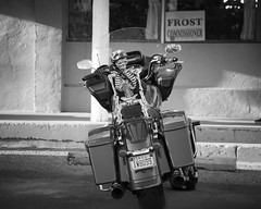 Careful When Picking up Hitchhikers (A Anderson Photography, over 1 million views) Tags: bw canon motorcycle skeleton streetphotography