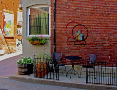 How about a cuppa? (Kris_wl) Tags: coffee tea table cafe lunch quietplace porch outside sidewalk ironchairs