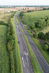 Birthday Balloon Ride (Joe Hayhurst) Tags: balloon hotairballoon road traffic car a41 shropshire air sky
