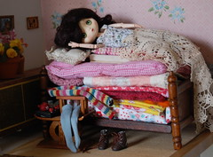 The Princess and the Pea (Emily1957) Tags: elodie jerryberry bjd obitsu fairyland fairytale bedroom bed belgianlace lace littlelittlemouse frut444 naturallight nikond40 nikon kitlens dolls doll toys toy miniature miniaturebedroom