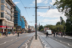 2016-08-01-IMG_1309.jpg (m.o.n.o.c.h.r.o.m.e.) Tags: bluesky trampoles pedestrians speedlimit clouds princesstreet 20 traffic twenty tramlines edinburgh scotland