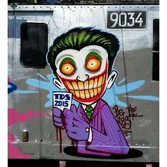 IMG_20150511_002027 (bg183tatscru@hotmail.com) Tags: colors train painting canvas artists batman joker mta 1980 spraycan tatscru southbronx graffititrain bg183 graffiticharacter muralkings graffiticanvas bestartists bestgraffiti graffiticanvases bg183tatscru wallworkny