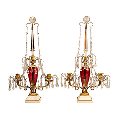 Pair of Russian Crystal and Gilt Bronze Candelabra (thehighboy) Tags: lighting crystal miami antiques russian collectibles highboy candelabras giltbronze