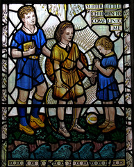 Suffer little children (shaggy359) Tags: blue boy me church window boys water glass girl saint st yellow river children toy book three stream little skirt stained peter come barton shorts peters cambridgeshire suffer cambs unto cooperabbs autotaggingisannoying
