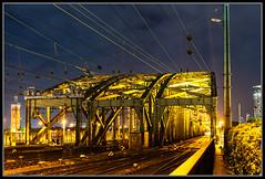 Kln / Cologne (rapp_henry) Tags: bridge blue skyline night nacht cologne eisenbahn kln stadt architektur brcke gelbeslicht yellowlight blauestunde hohenzollernbrcke 2470mm28 nikond800