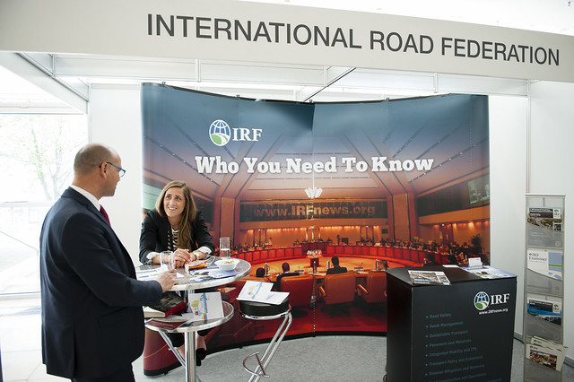 Janet Tela at the International Road Federation (IRF) stand