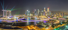 Lights Galore (Mabmy) Tags: city panorama lumix town singapore district olympus esplanade cbd lighttrails lasershow financial hdr galore mbs em1 7mm manualblending