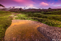 Eysteinsdalur (Gujn Ott) Tags: longexposure trip sunset sky cloud sun snow mountains reflection green ice nature water grass landscape volcano iceland rocks outdoor glacier gras snfellsjkull gravel sland nttra snfellsnes snjr vatn sk himinn iceandwater klettar speglun s landslag fjll ott slsetur grnn grjt singhraygoldnbluepolarizer canoneos6d eldst singhrayreversendgraduatedfilter eysteinsdalur