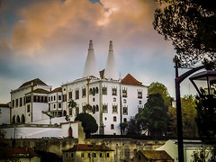 Town Palace (Colormaniac too) Tags: travel portugal monument architecture fairytale clouds colorful europe sintra palace historic manueline nationalpalaceofsintra