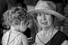 Hat Lady and the Little Cutie (Jim-Mooney) Tags: street portrait people blackandwhite bw white black monochrome photography mono blackwhite fuji market monotone kansascity fujinon xt1 50140mm