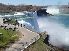 Niagara. The beautful American Falls then tiny Luna Island and the small Bridal Falls and then Goat Island which is next to the Horseshoe Falls (denisbin) Tags: people niagarafalls tourists horseshoefalls americanfalls caveofwinds