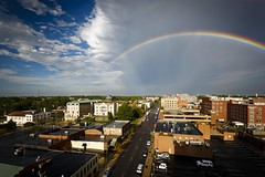 Rainbow Skyline (Notley) Tags: rainbow architecture outdoor city skyline sky road cloud cloudysky httpwwwnotleyhawkinscom notleyhawkinsphotography notley notleyhawkins 10thavenue clouds 2016 summer august downtowncolumbiamissouri columbiamissouri bocomo como