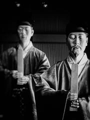 Nara Period Courtiers (Rekishi no Tabi) Tags: naraperiod naniwa naraperiodcostumes ancientjapan monochrome