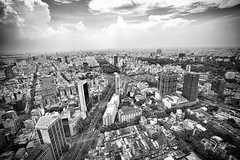Vietnam Skyline in Monochrome (tj.blackwell) Tags: vietnam saigon hochiminhcity skyline cityscape urban fromabove skyscraper fareast high sky summer travel tourism world sony a7 a7ii 2016 wow modern life buildings architecture