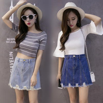 Summer denim skirts new hole in the Korean version of the skirt is slimming high waist skirts Joker a character hip skirt