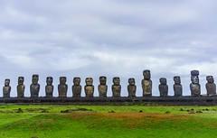The Usual Suspects (Rice Bear) Tags: moai easterisland ahu ahutongrariki sky grass statues platform chile polynesia pacific hangaroa island rapanui hdr