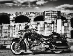 Harley {Explored 242} (Jeananne Martin) Tags: harley harleydavidson bike motorbike motorcycle cycle mono ad maine fortpopham