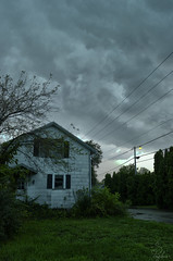 Storm (Sarah_Brigham) Tags: storm stormy clouds sky texture weather house building landscape wires plants nature stormclouds color hdr manipulation nikon nikond5200 rain rainy thunder photography rural