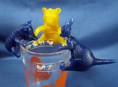 Winnie the Pooh Glass sitters (Debras Closet) Tags: toys vintage pooh yellow blue