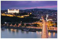 Bratislava is getting ready for the Night (Philipp Schweighofer) Tags: city bridge sunset sky castle cars church night canon river photography lights europe purple slovakia philipp bratislava hrad donau 2015 explored schweighofer