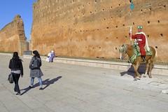 On guard (halifaxlight) Tags: girls horse walking soldier women sitting guard sunny morocco lance mounted walls rabat mounument hassantower
