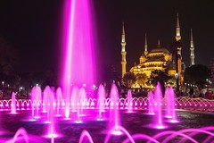 Blue Mosque at Night (Pink Version) (Johannes R.) Tags: pink blue light blur color colour church water fountain night canon turkey spring long exposure purple tripod illumination blurred istanbul mosque tourist illuminated change stm 1855 efs attraction 70d