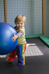 Day 158: Sam as Atlas (quinn.anya) Tags: ball toddler sam trampoline atlas ymca day158 kindergym 525600minutes