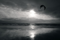 Orange Moon (Livesurfcams) Tags: kite surfer devon nikon v1 1020 sigma ocean atlantic beach sea waves reflection