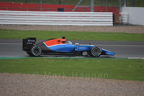 Jordan King in the Manor during Formula One In Season Testing at Silverstone, July 2016