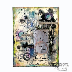Denim Journal - mixed media page with Video (Athanasia, Me and Myself) Tags: birds video mixedmedia bubbles stamping tutorial artjournal blackgesso circkles denimjournal 7dotsstudio finnabaircreativeteam