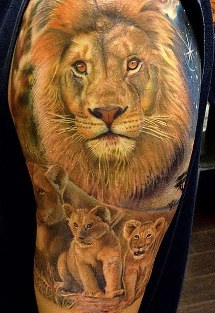 6d0a55d03 Lion and Cub Tattoo Ideas (donaldrider) Tags: lion lioness lionet tattoo  tattooed sleeve